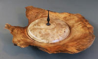 Lidded wooden bowl of Oregon Myrtle wood